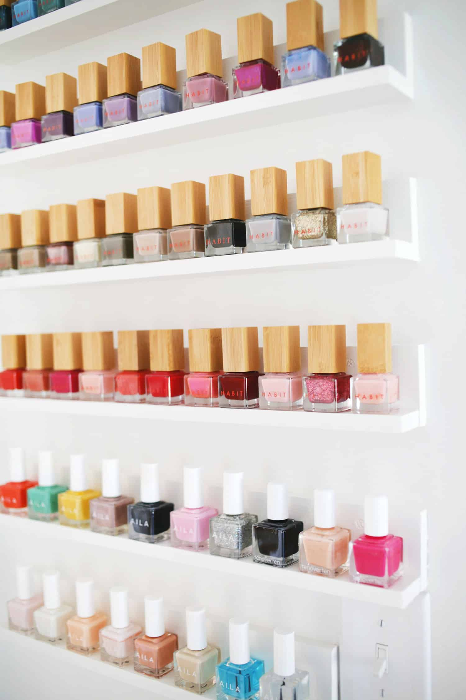 easy custom nail polish shelves a beautiful mess. Black Bedroom Furniture Sets. Home Design Ideas