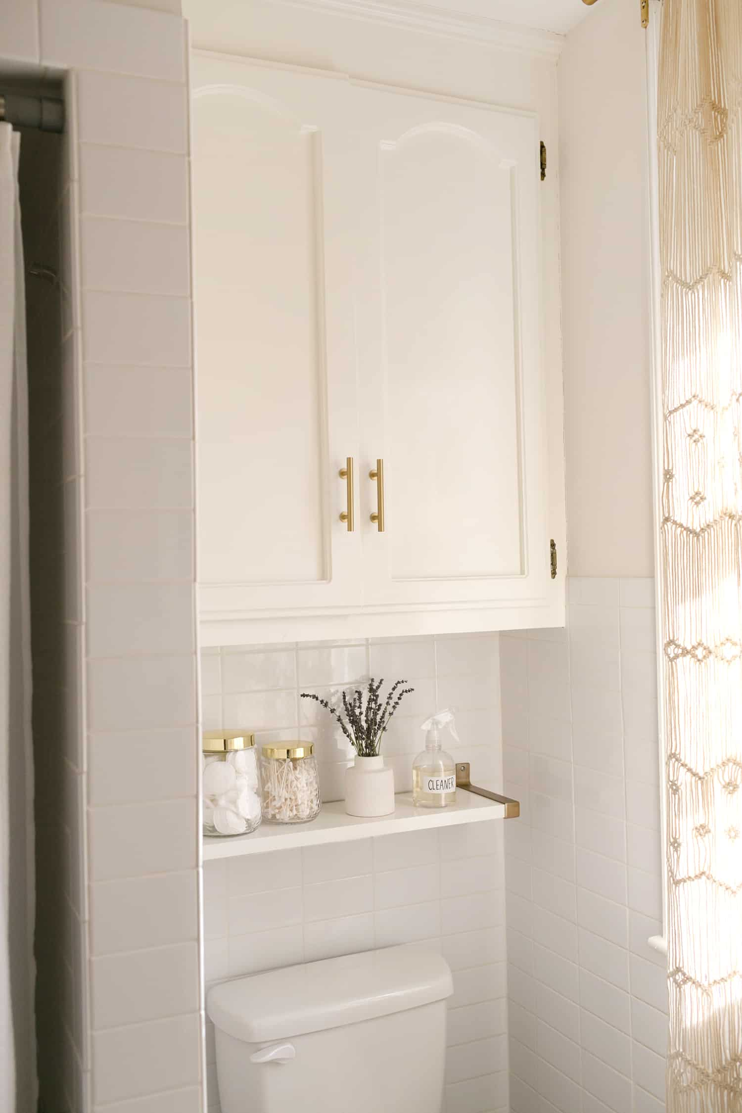 We Continued The Stack Bond Tile From The Shower Around The Toilet Area. We  Kept The Existing Storage Shelves That Came With The House And ...