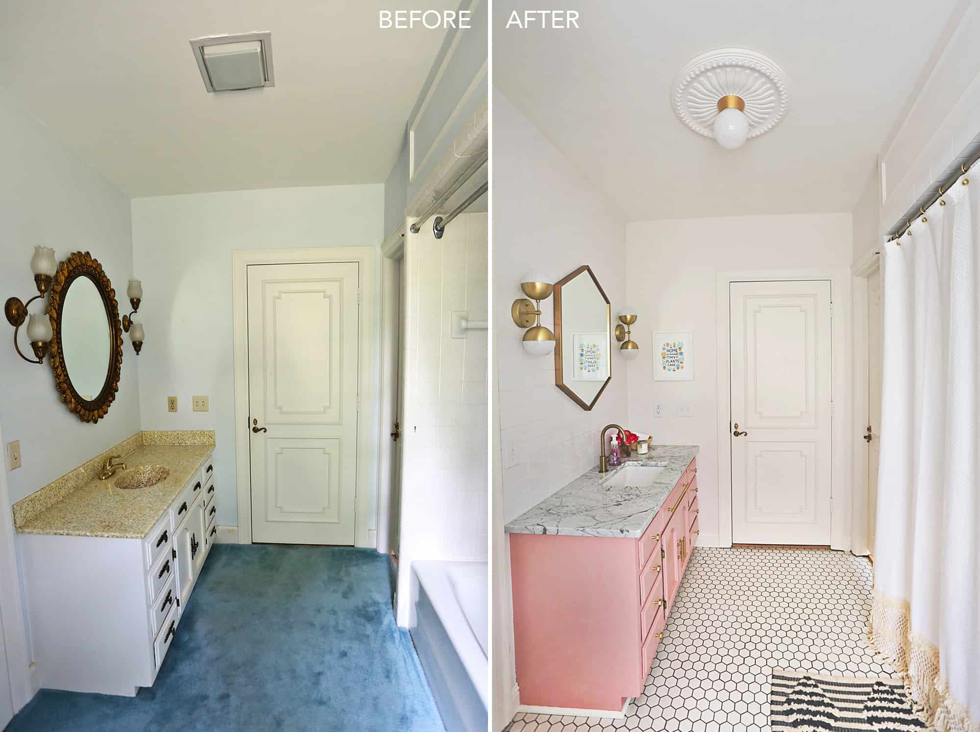 Elsie's Guest Bathroom Tour (Before + After) - A Beautiful Mess on vanities for small bathrooms, paint best for humid bathrooms, remolded bathrooms, organizing bathrooms, light boxes in bathrooms, silver bathrooms, updating bathrooms,