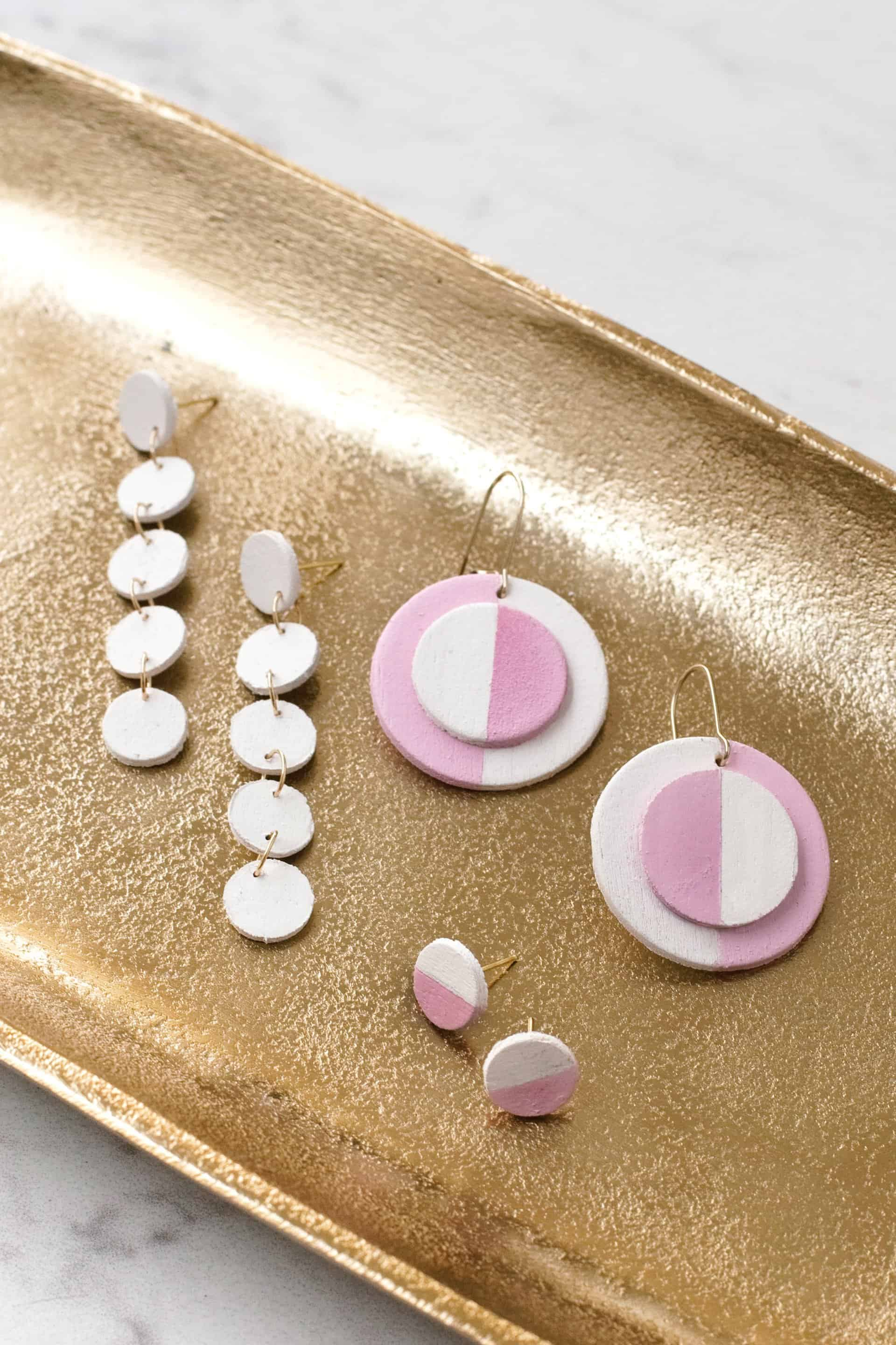 DIY wooden circle earrings