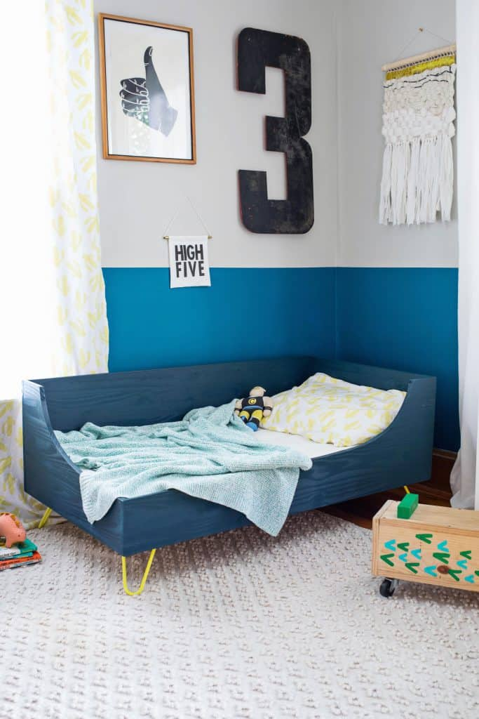 Modern toddler bed diy a beautiful mess - Toddler bedroom ideas for small rooms ...