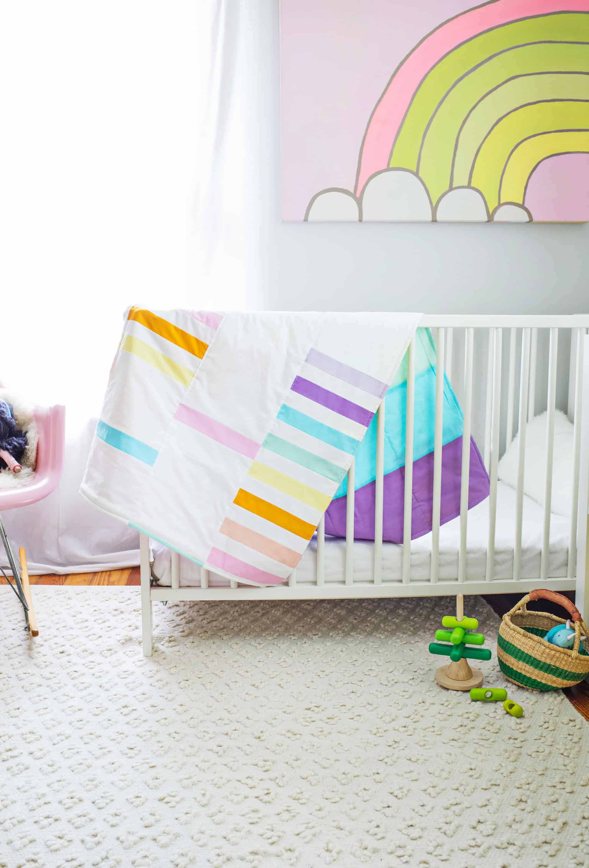 Modern Pastel Crib Quilt DIY - A Beautiful Mess