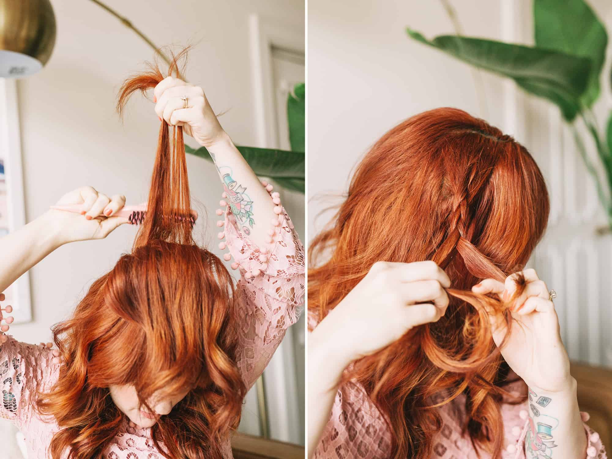 Braided wavy boho hair tutorial a beautiful mess step one tease the top using a teasing brush tease 2 3 layers of hair just an inch or two from your scalp to add volume but not create a full on nest baditri Choice Image