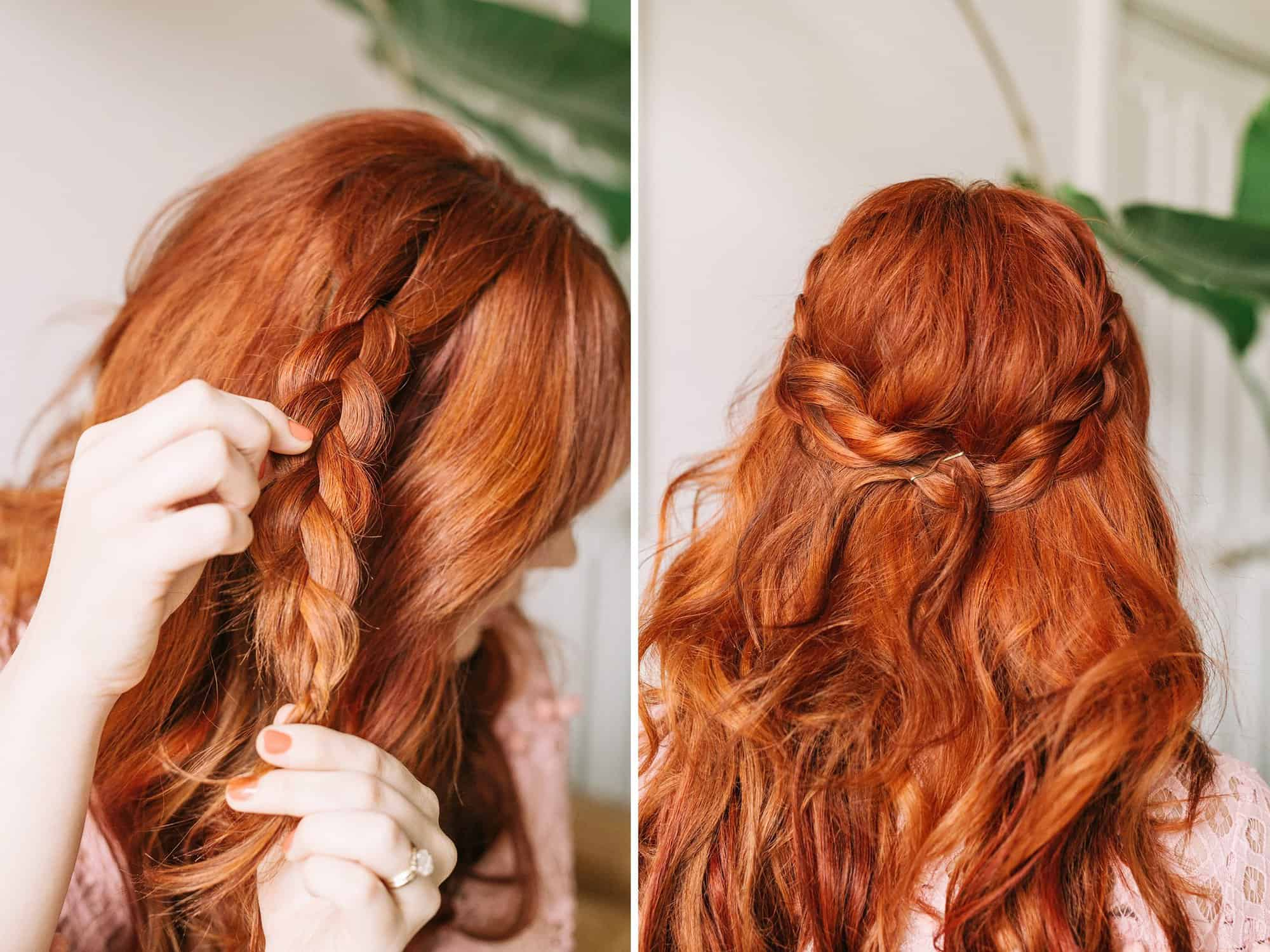 Braided wavy boho hair tutorial a beautiful mess step three pull braids out piece by piece so they look fuller baditri Choice Image