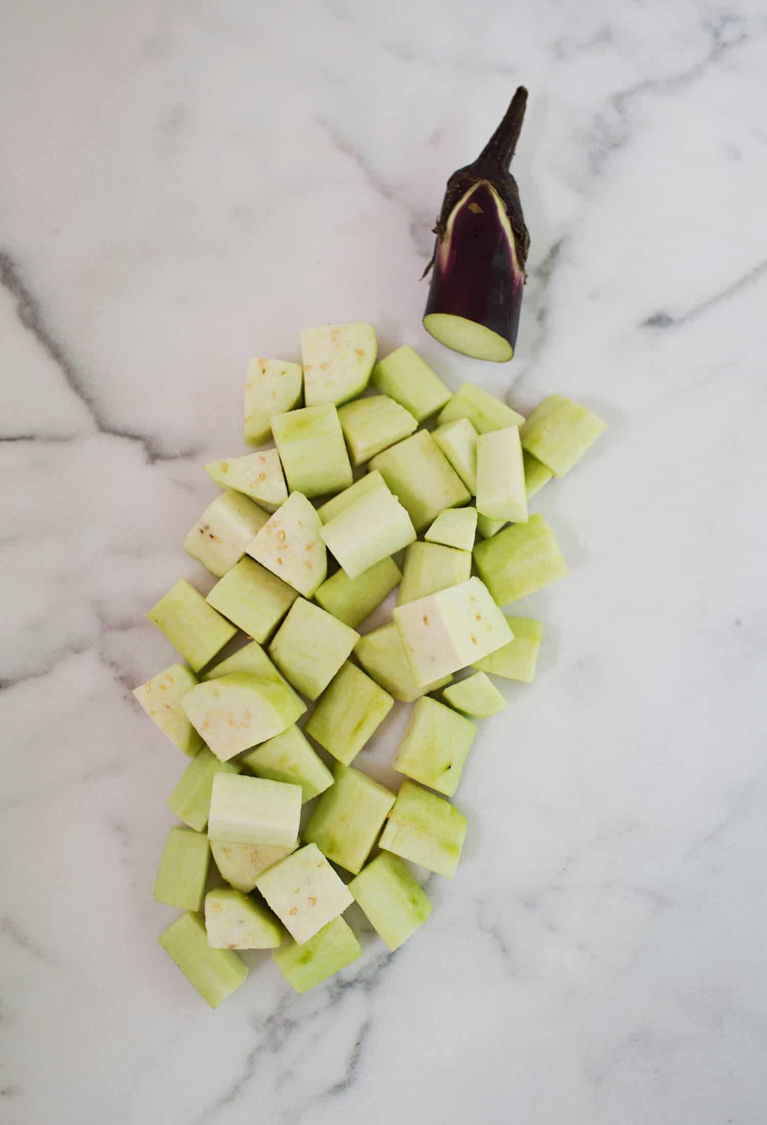 Knusprige gebackene Aubergine