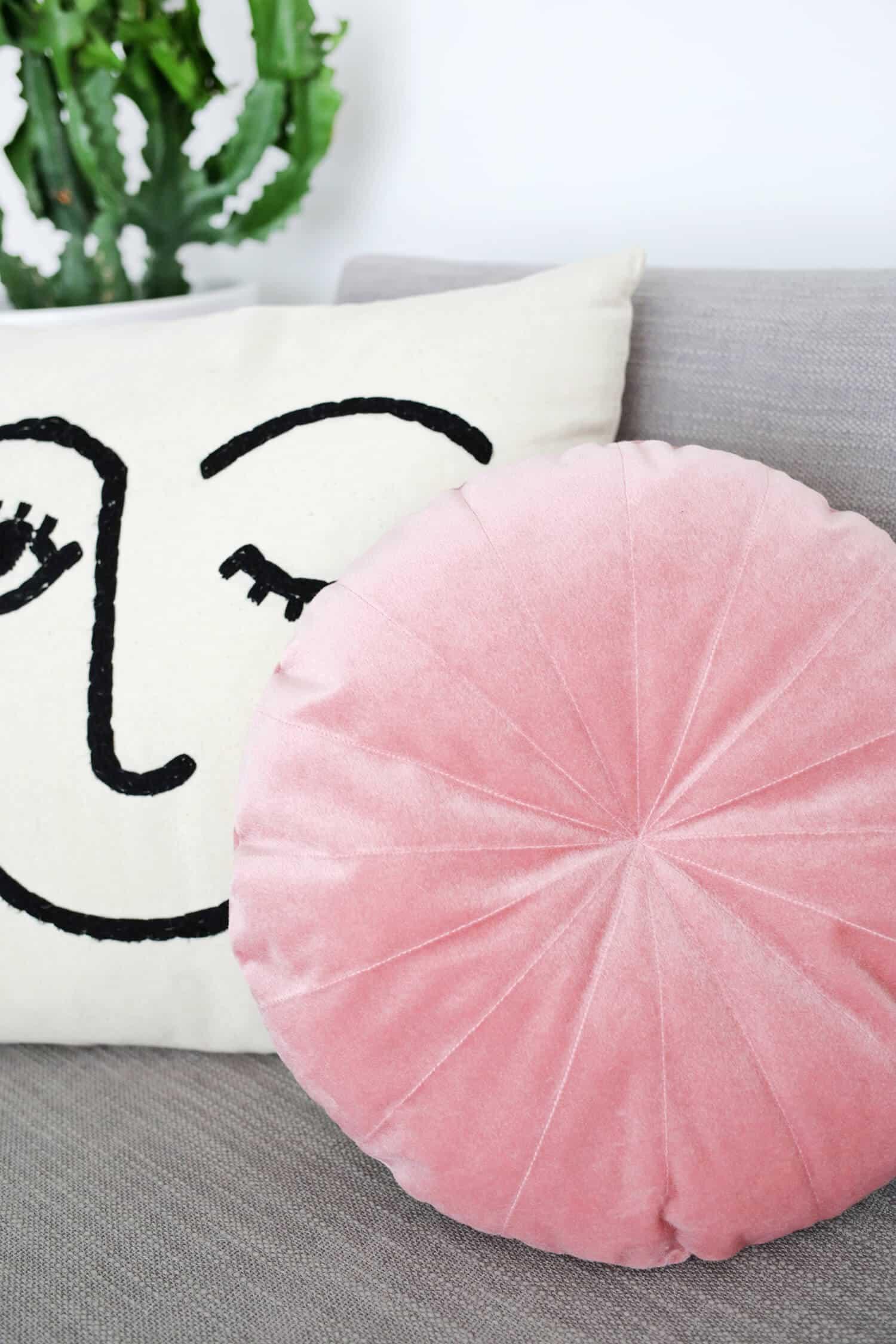 Round Velvet Pillow Diy A Beautiful Mess