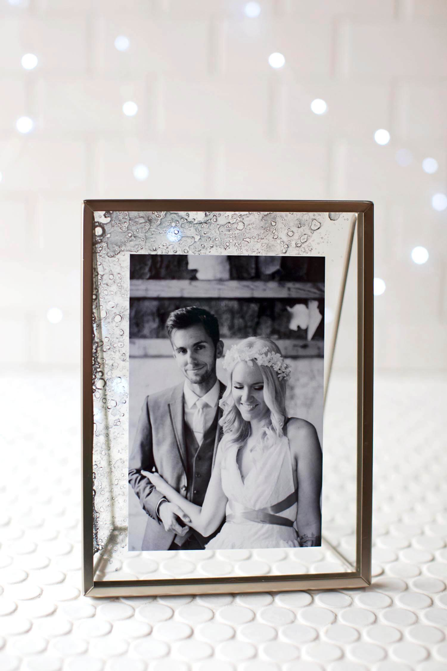 DIY Antique Glass Photo Frame - A Beautiful Mess