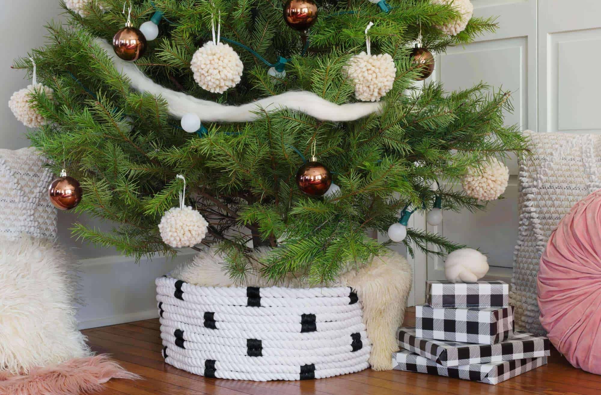 Rope Christmas Tree Collar Diy A Beautiful Mess