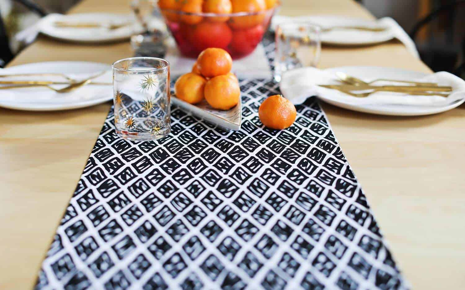 The Black Fabric In Pattern Matches Our Dining Chairs Too Which Is Also A Win Another Option To Consider While Designing Your Table Runner Use