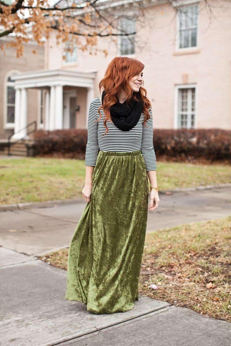 Ladies Women Free Size Elastic Waist Cotton Long Maxi Skirt