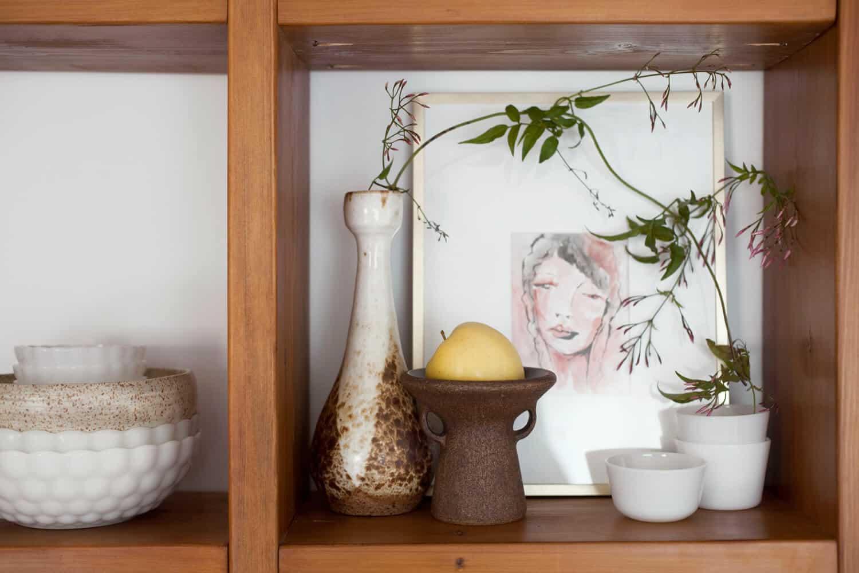 rustic modern shelf vignette
