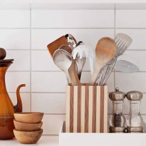 DIY Wood Striped Utensil Holder