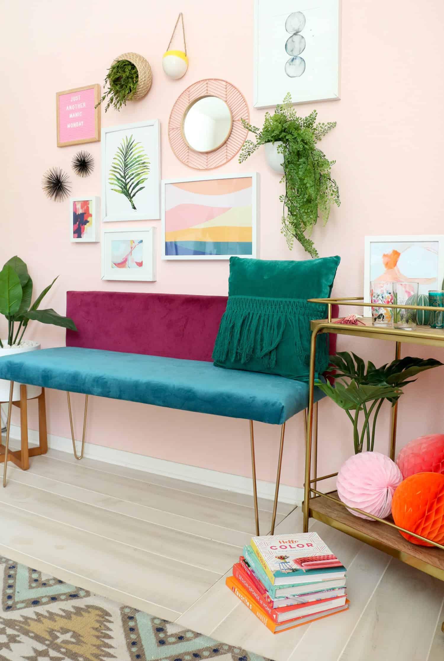 DIY Color Blocked Velvet Bench