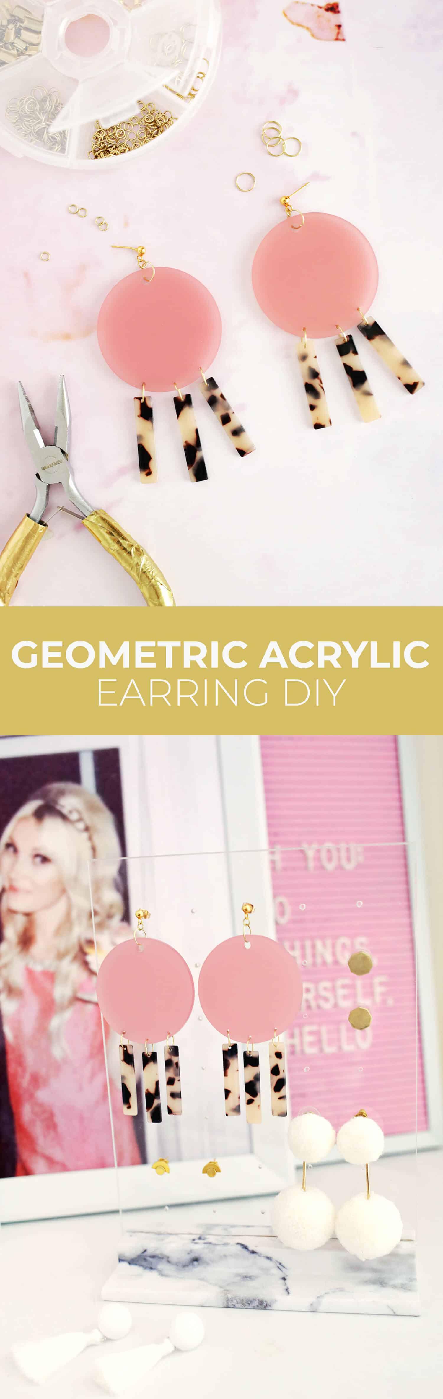 Geometric Acrylic Earring DIY click through for tutorial