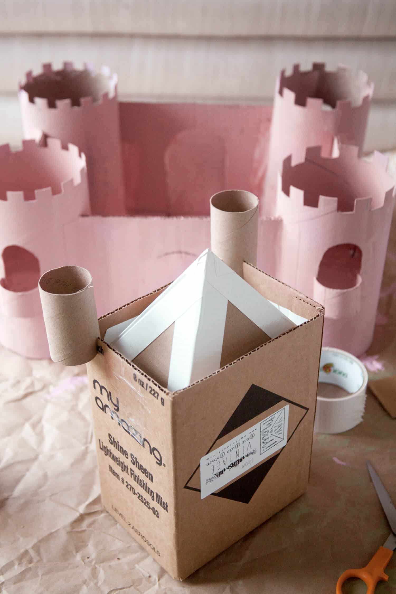 upcycled cardboard castle