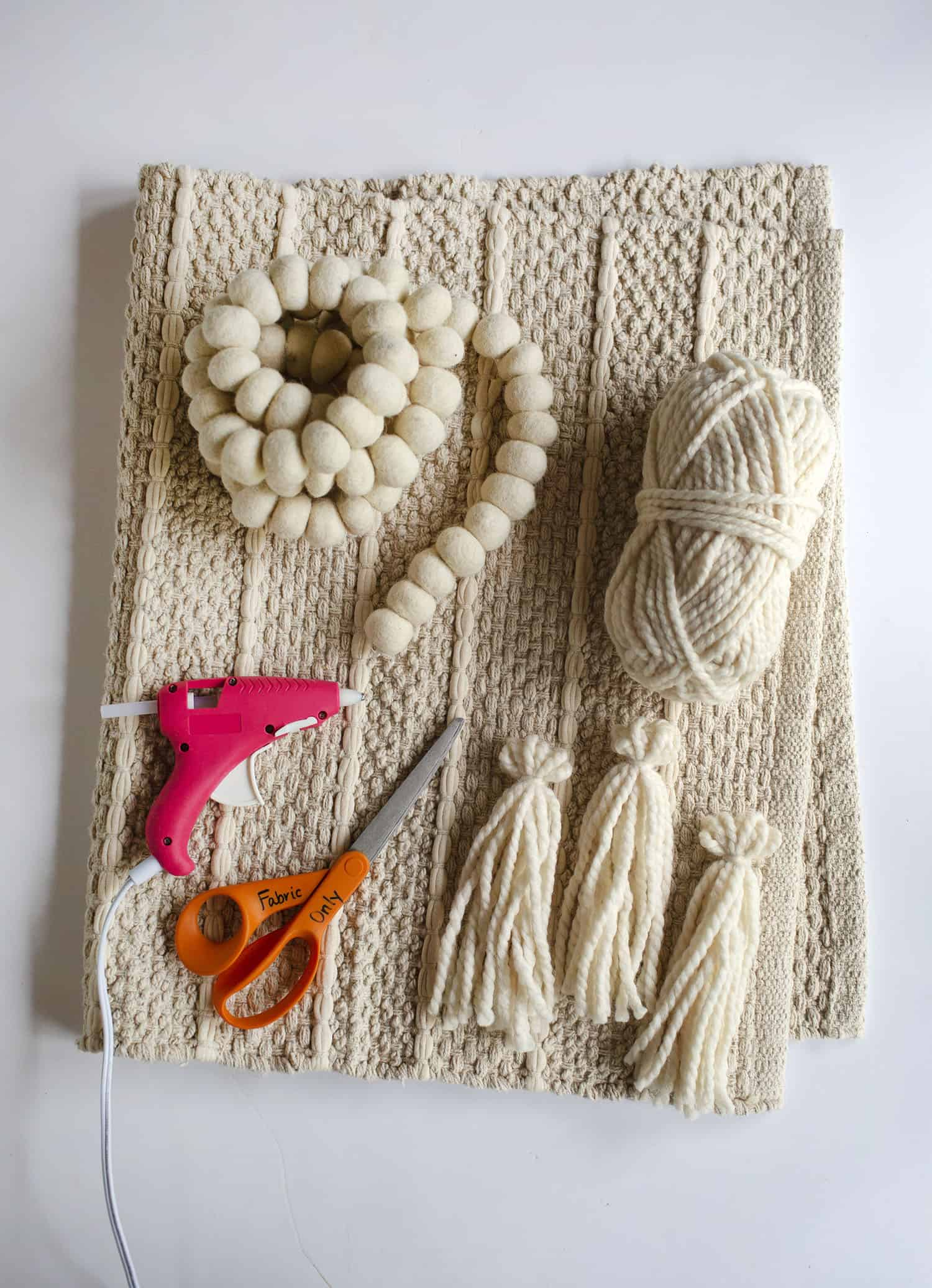 Supplies yarn for tassels I used three