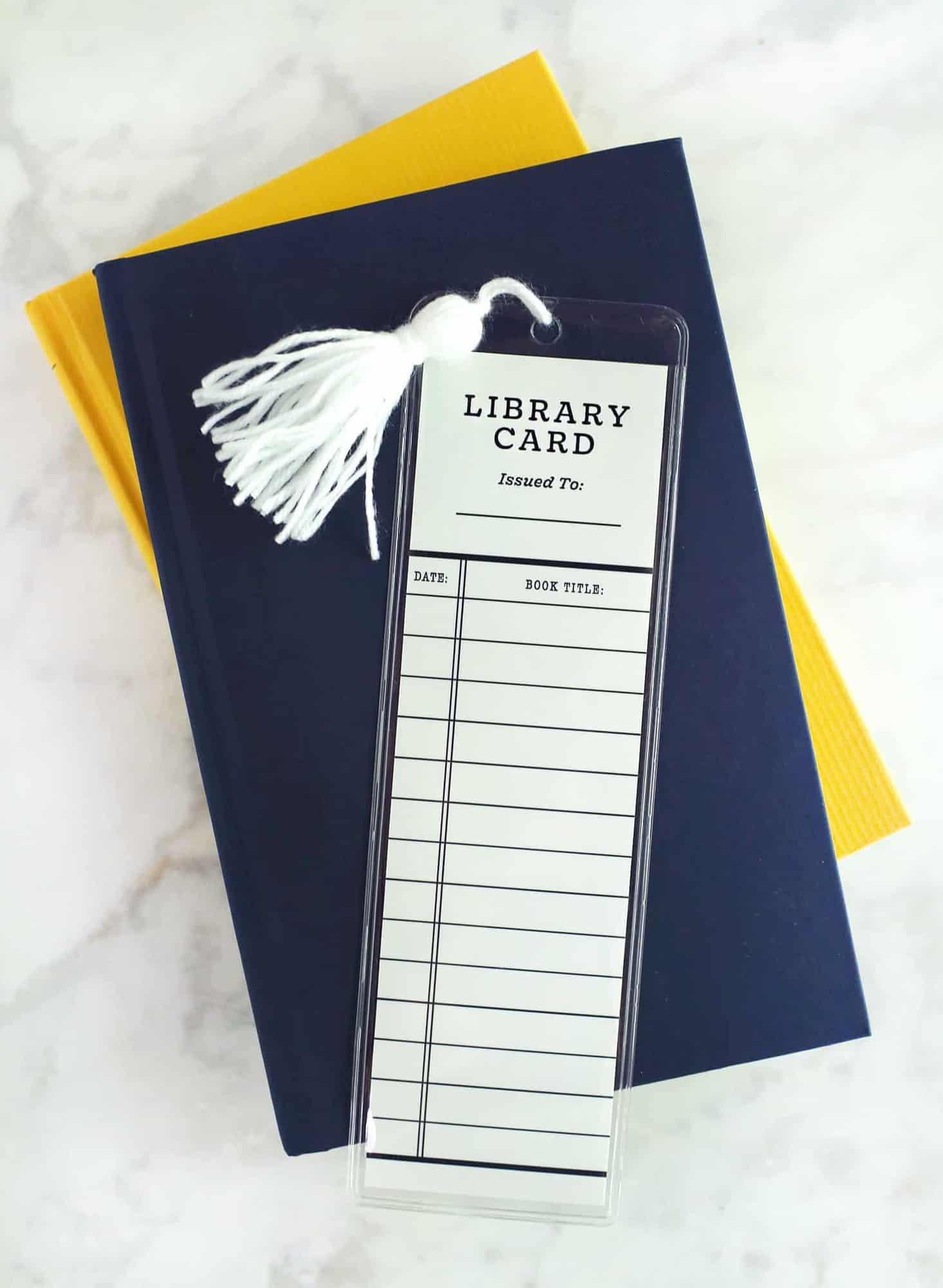 Library card bookmark DIY
