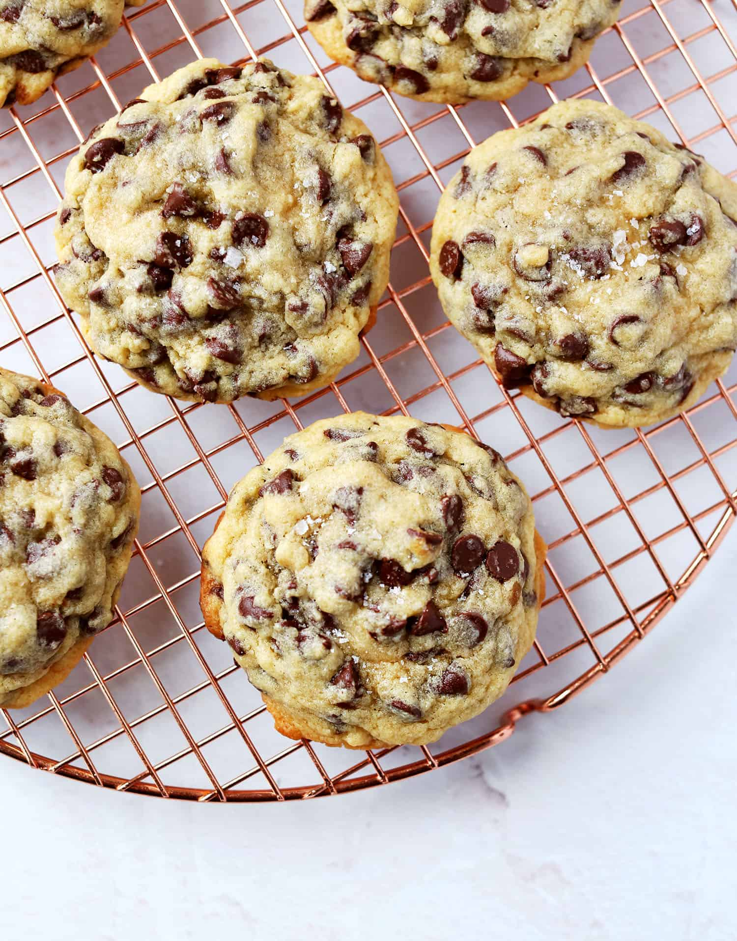 Oversized soft center chocolate chip cookies