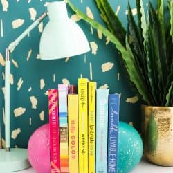 DIY Splatter Painted Concerete Sphere Bookends
