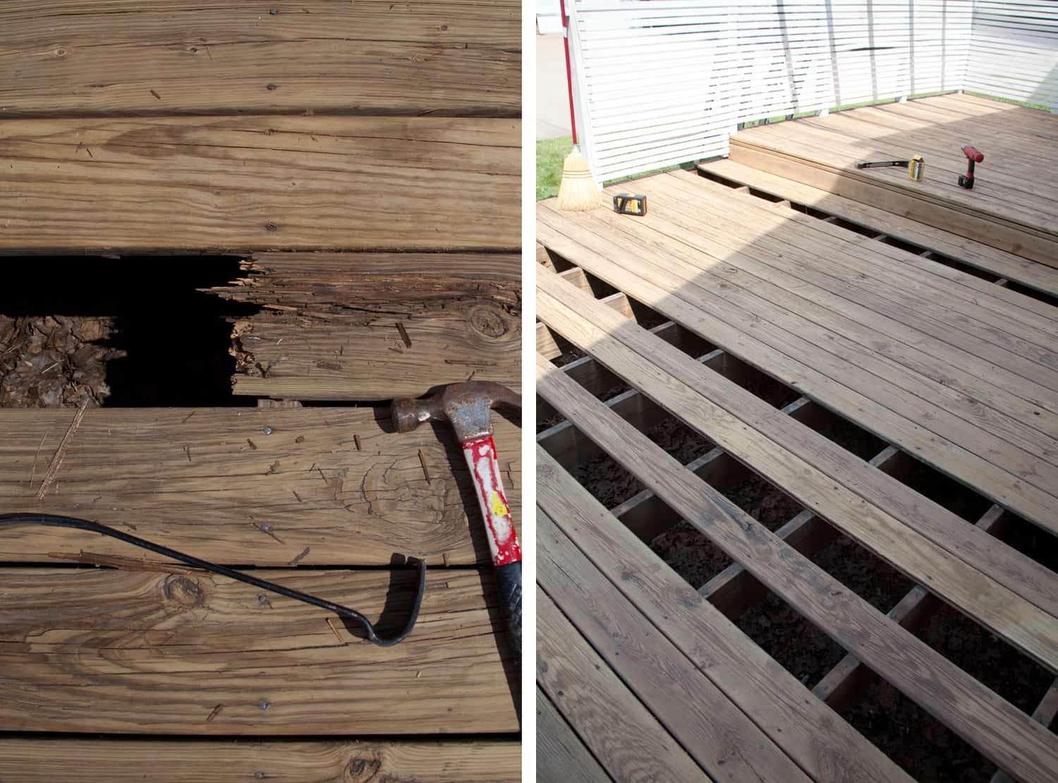How We Refinished Our Old Wood Deck A Beautiful Mess