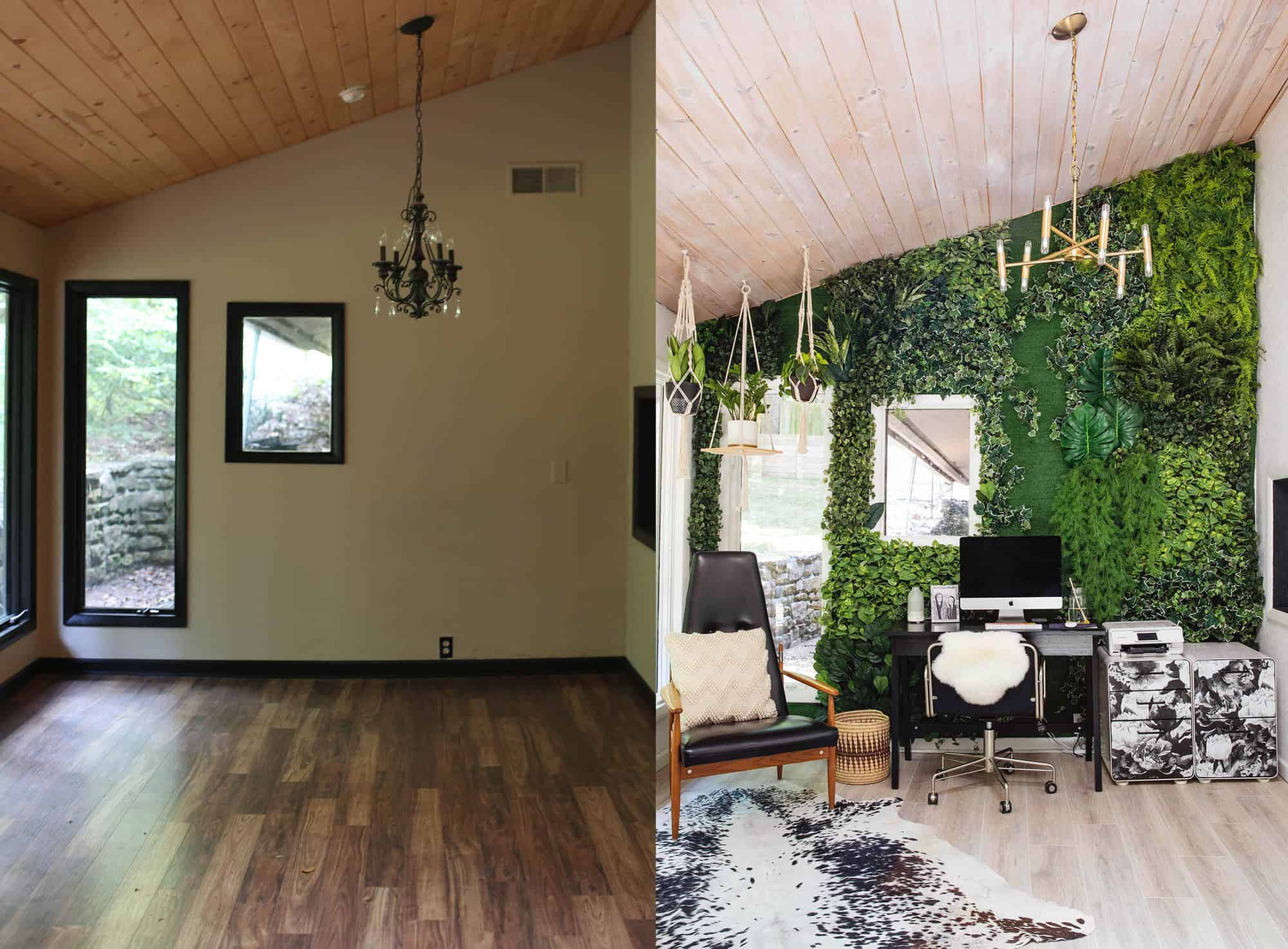 Good Here Is A Before And After Of This Room. Since Moving In, We Updated The  Floors And I Also Hand Stained The Ceilings To Lighten Up The Space  (throughout The ...