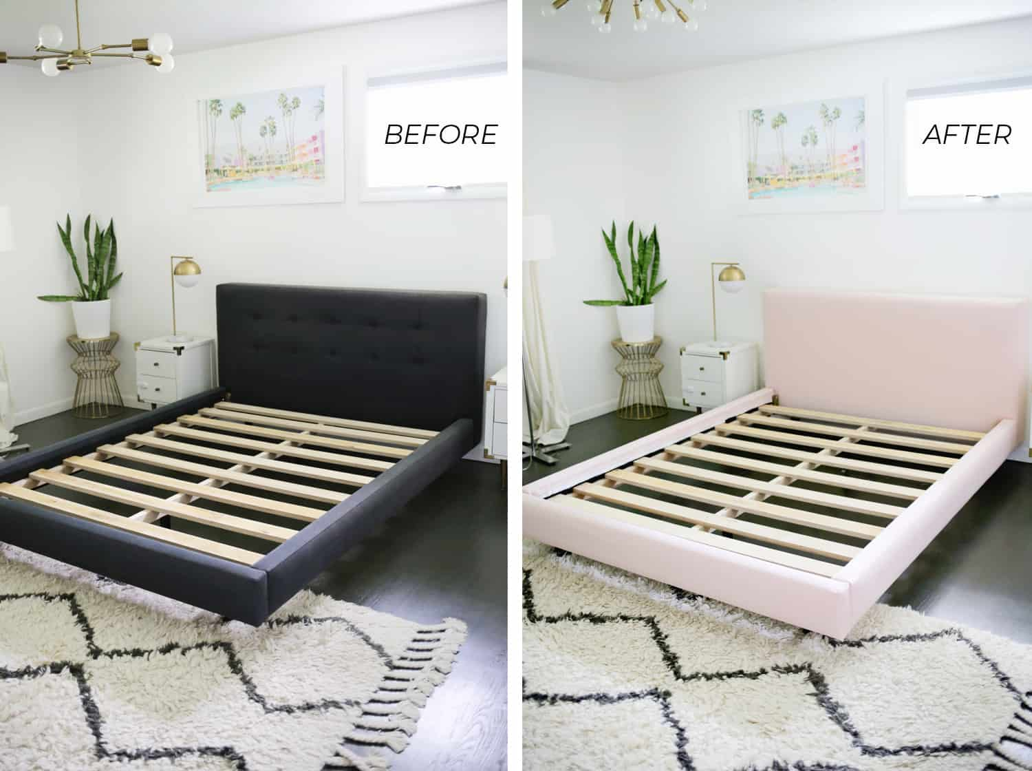 Reupholster Your Bed Frame In One Afternoon With A No Sew Option Too A Beautiful Mess