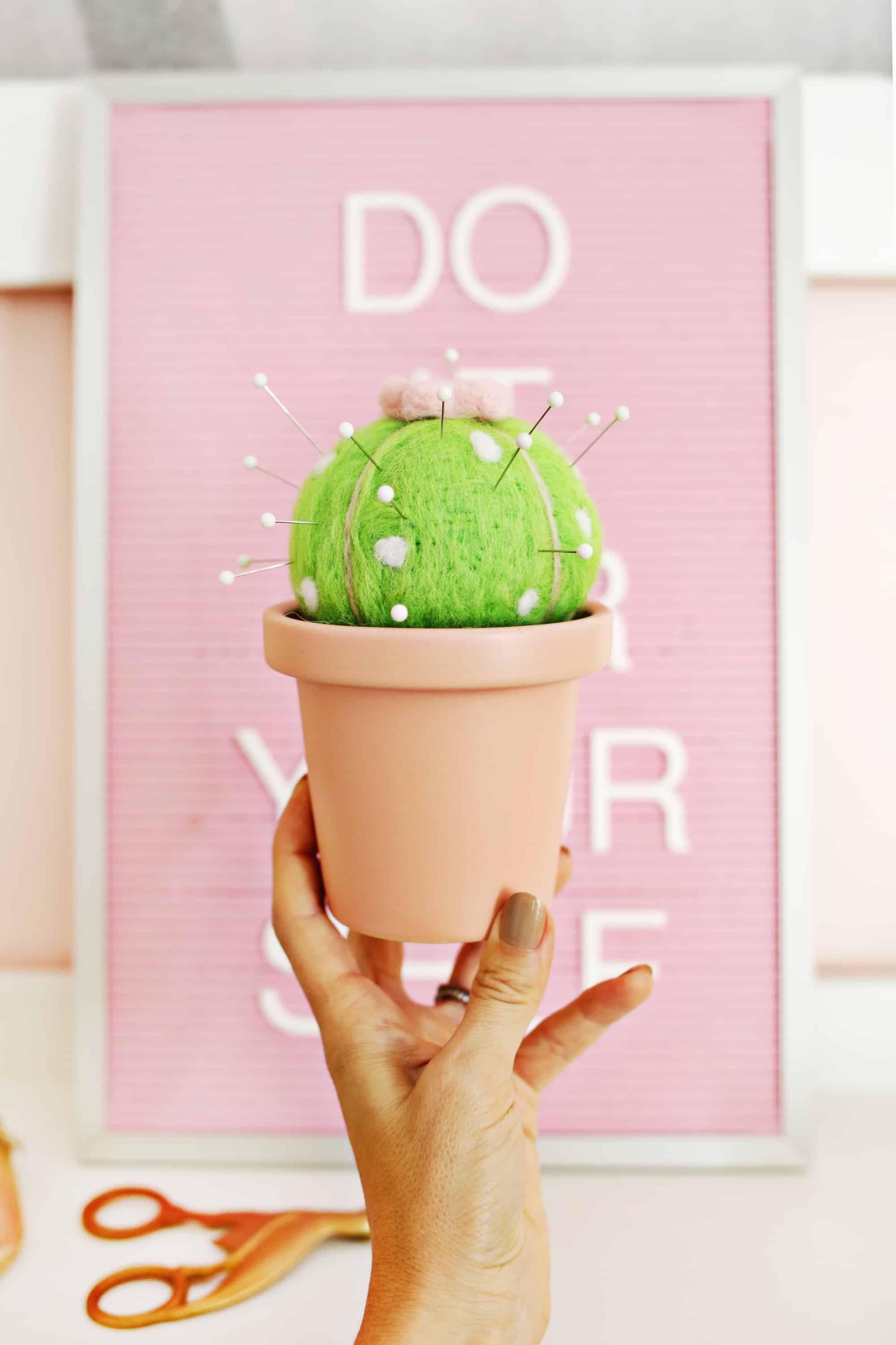 Learn how to make this cactus pincushion on www.abeautifulmess.com