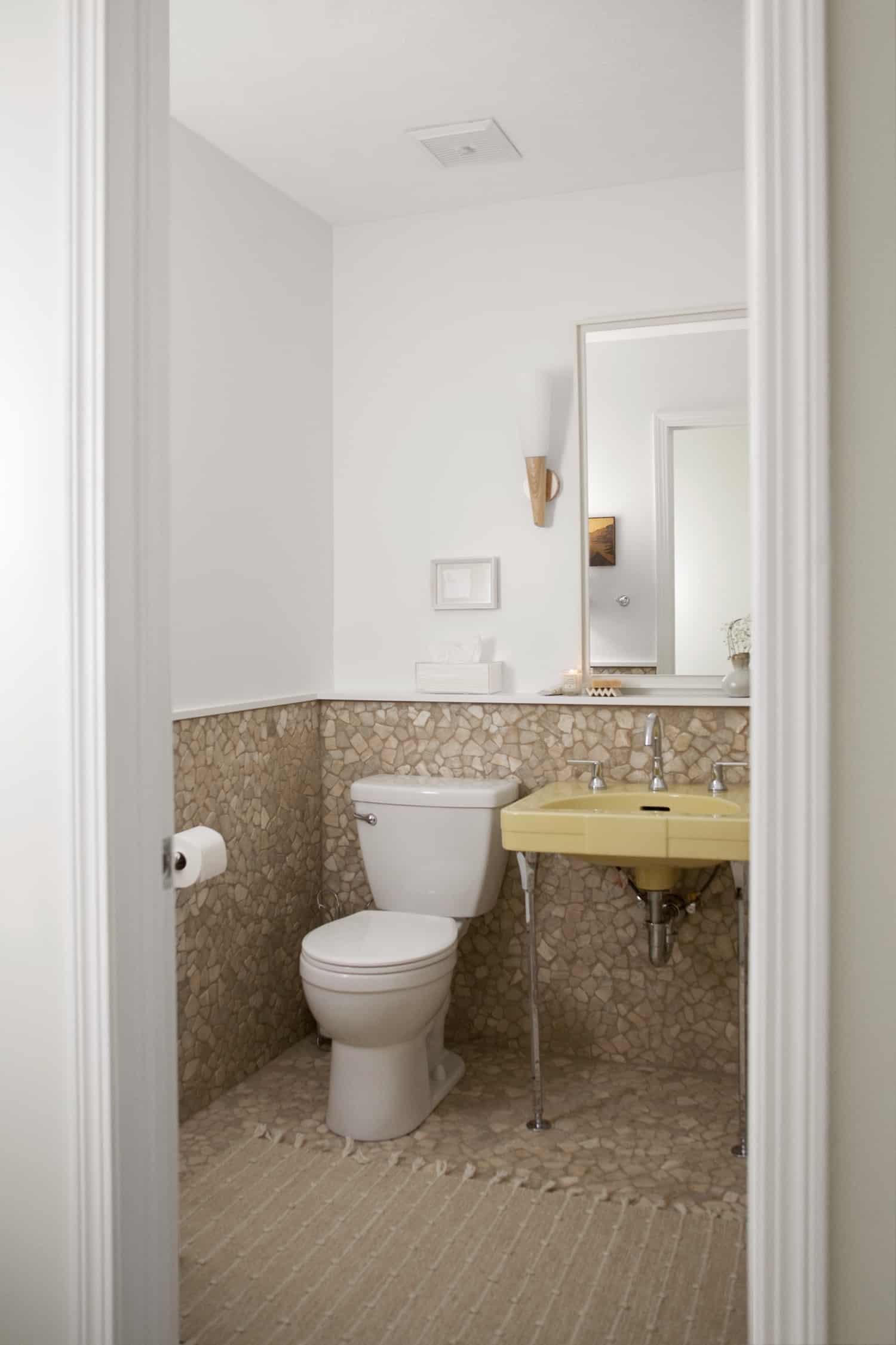 pebble tile bathroom