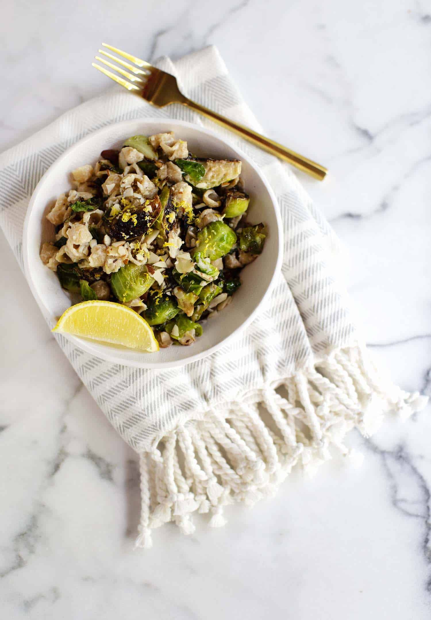Creamy Stovetop Brussels + Shells