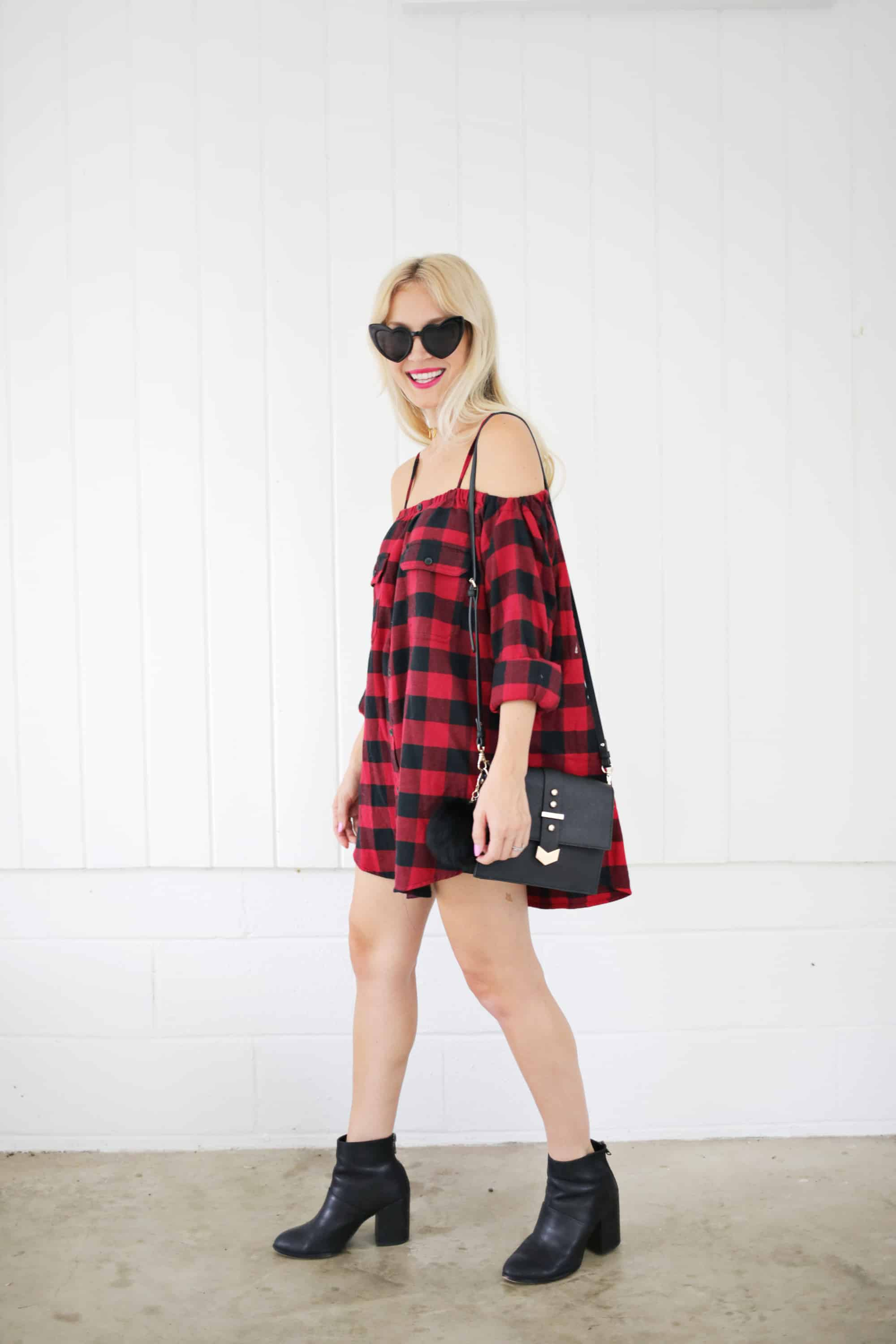 Turn A Flannel Shirt Into A Dress!