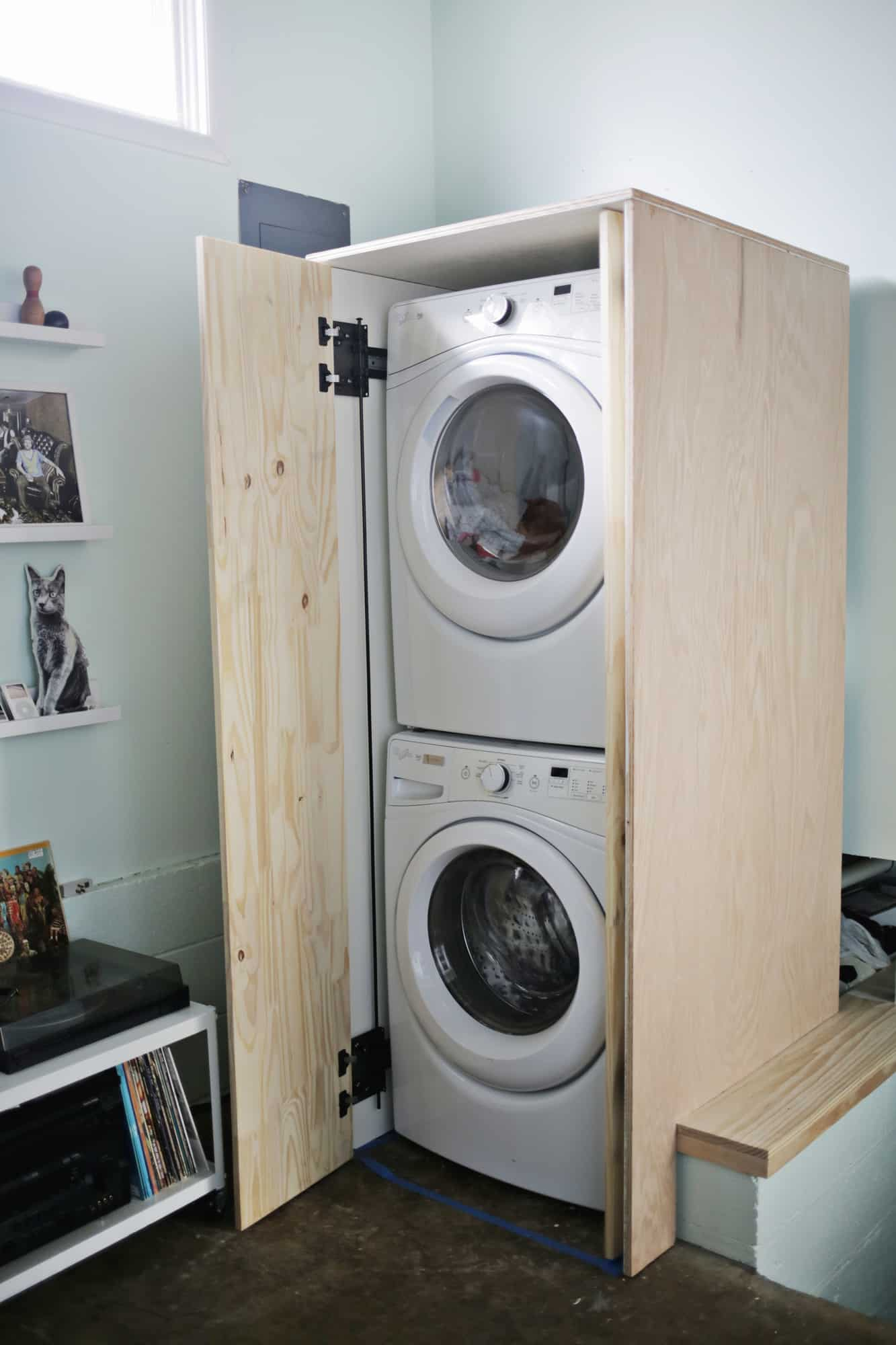 hidden washer and dryer cabinet obsigen. Black Bedroom Furniture Sets. Home Design Ideas
