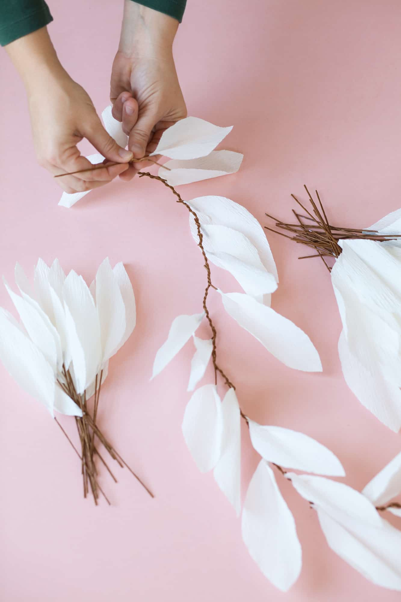 white paper leaf garland