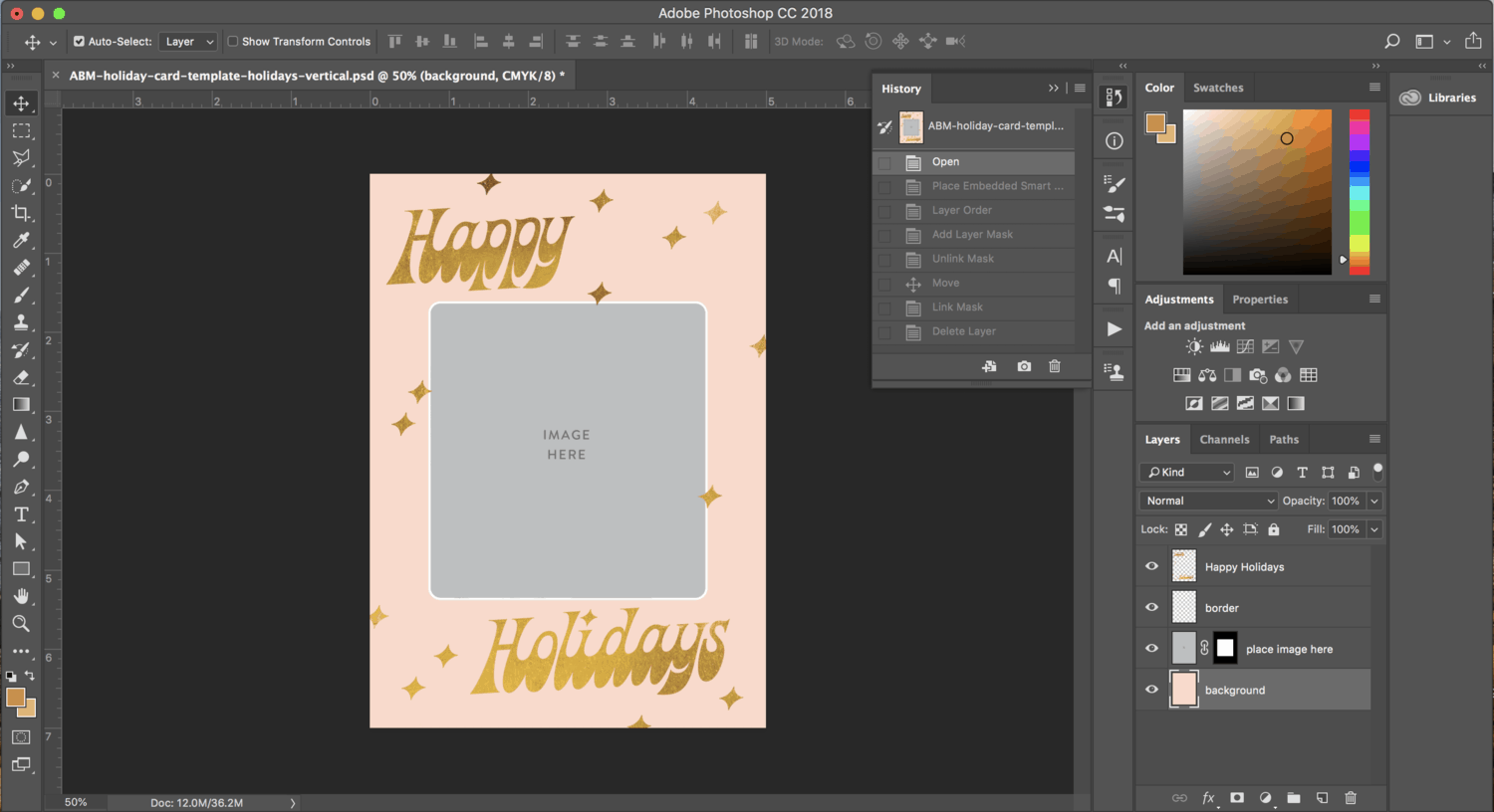 Print your own holiday cards free template included a beautiful photoshop template instructions wajeb Choice Image