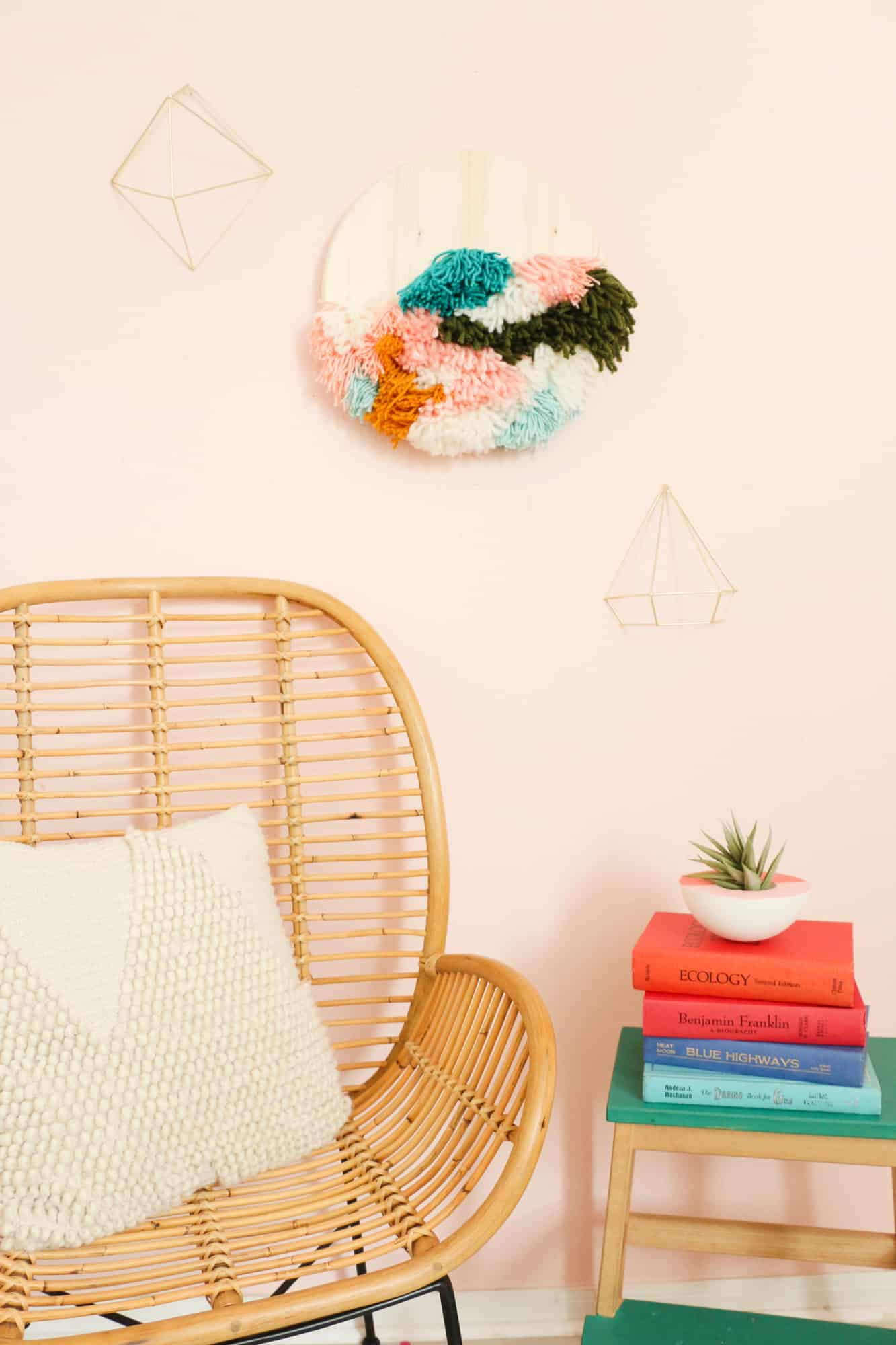 DIY Faux Latch Hook Wall Hanging