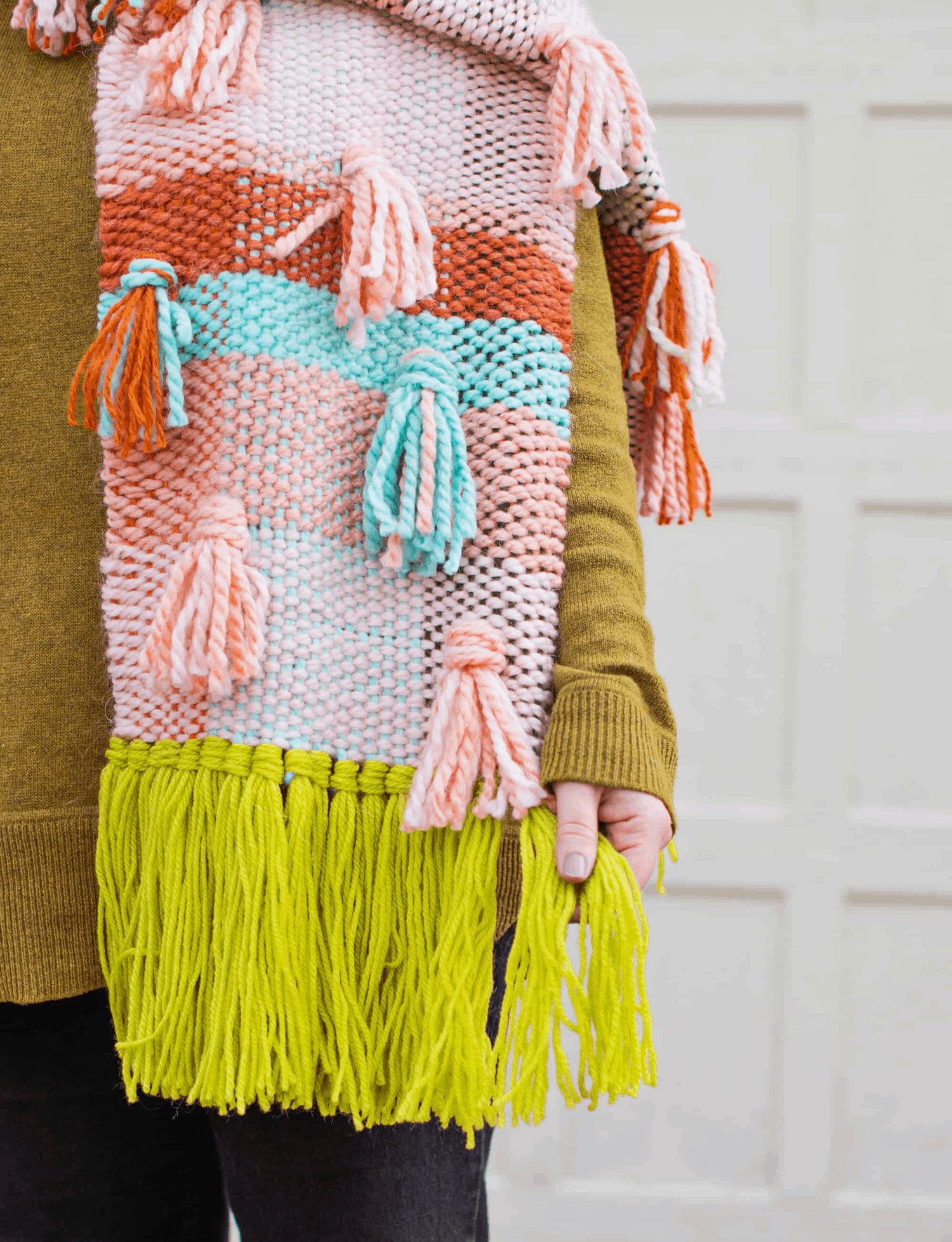 Chunky woven scarf DIY