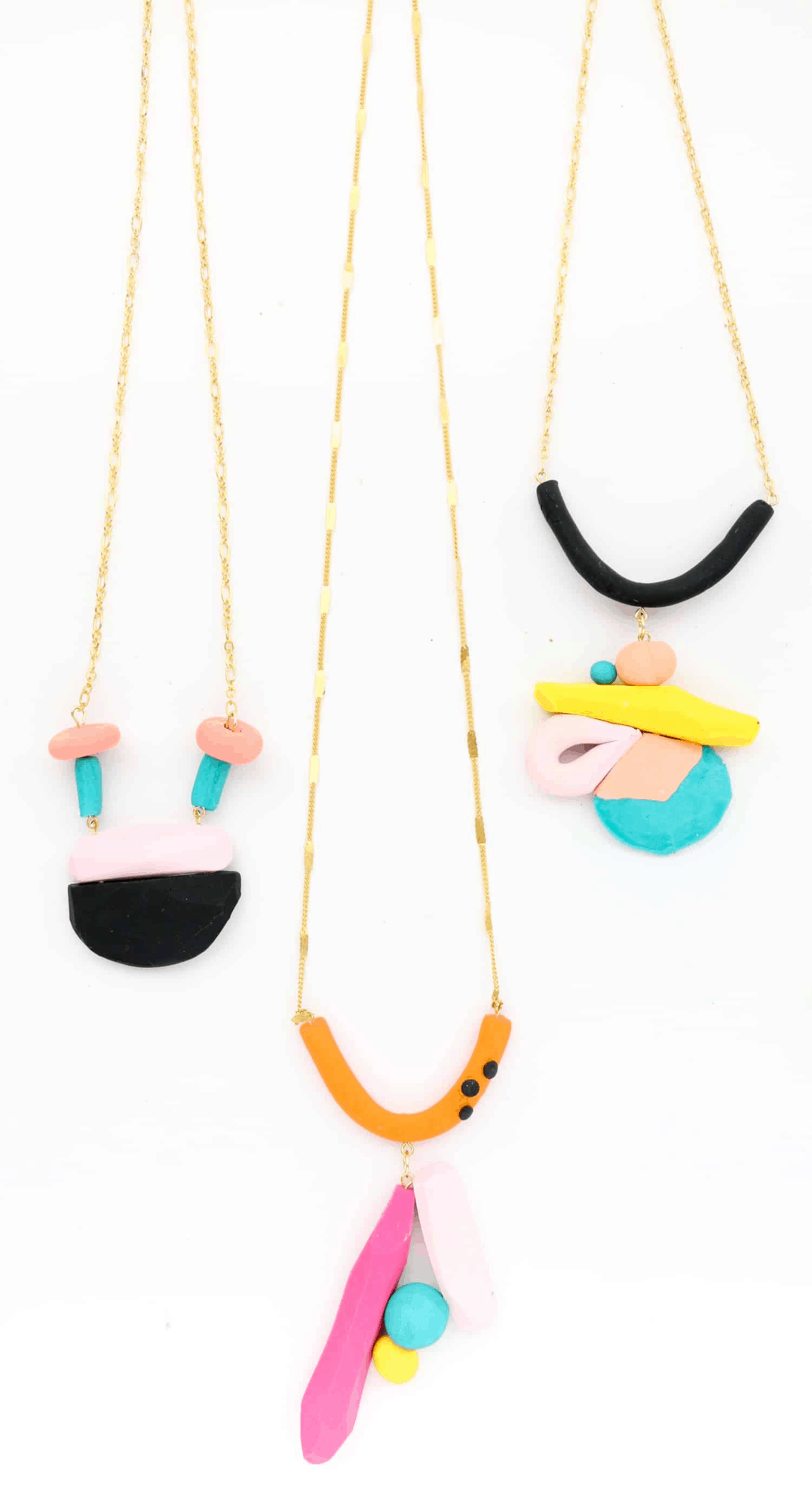 Colorful geometric necklace DIY
