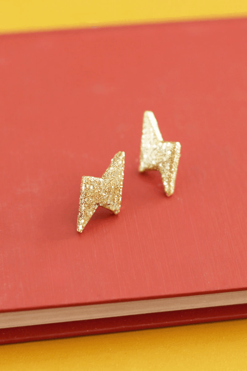 Glitter thunderbolt earrings