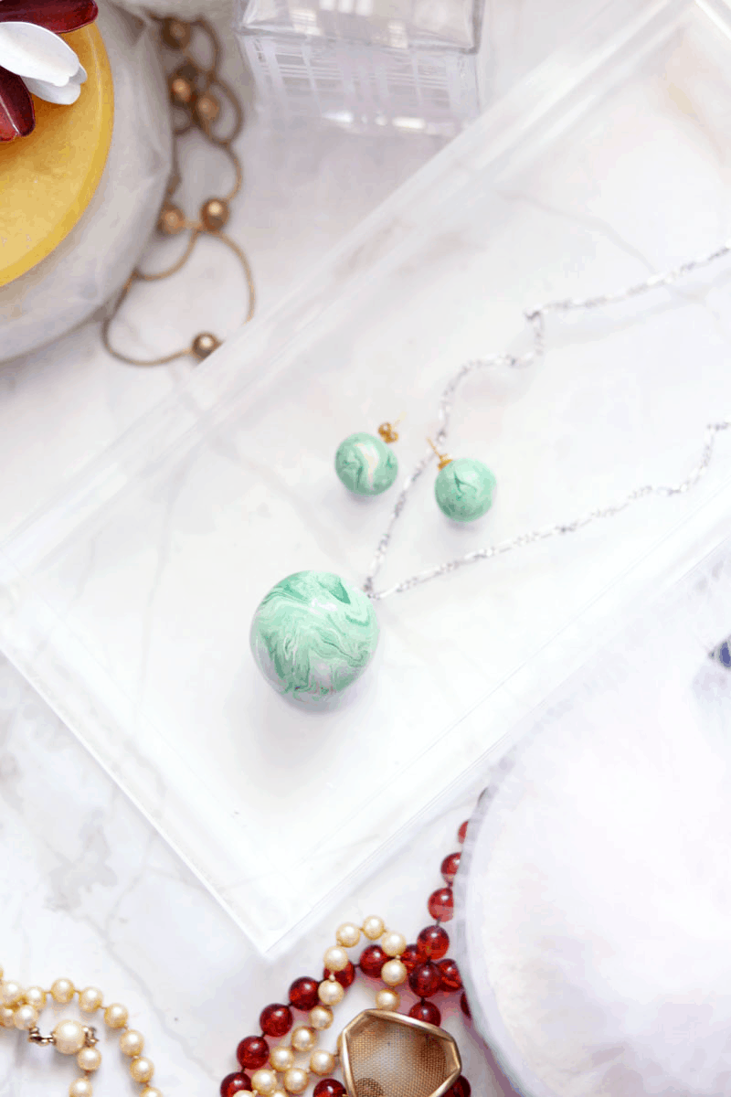 Jade marble earrings and necklace DIY 1