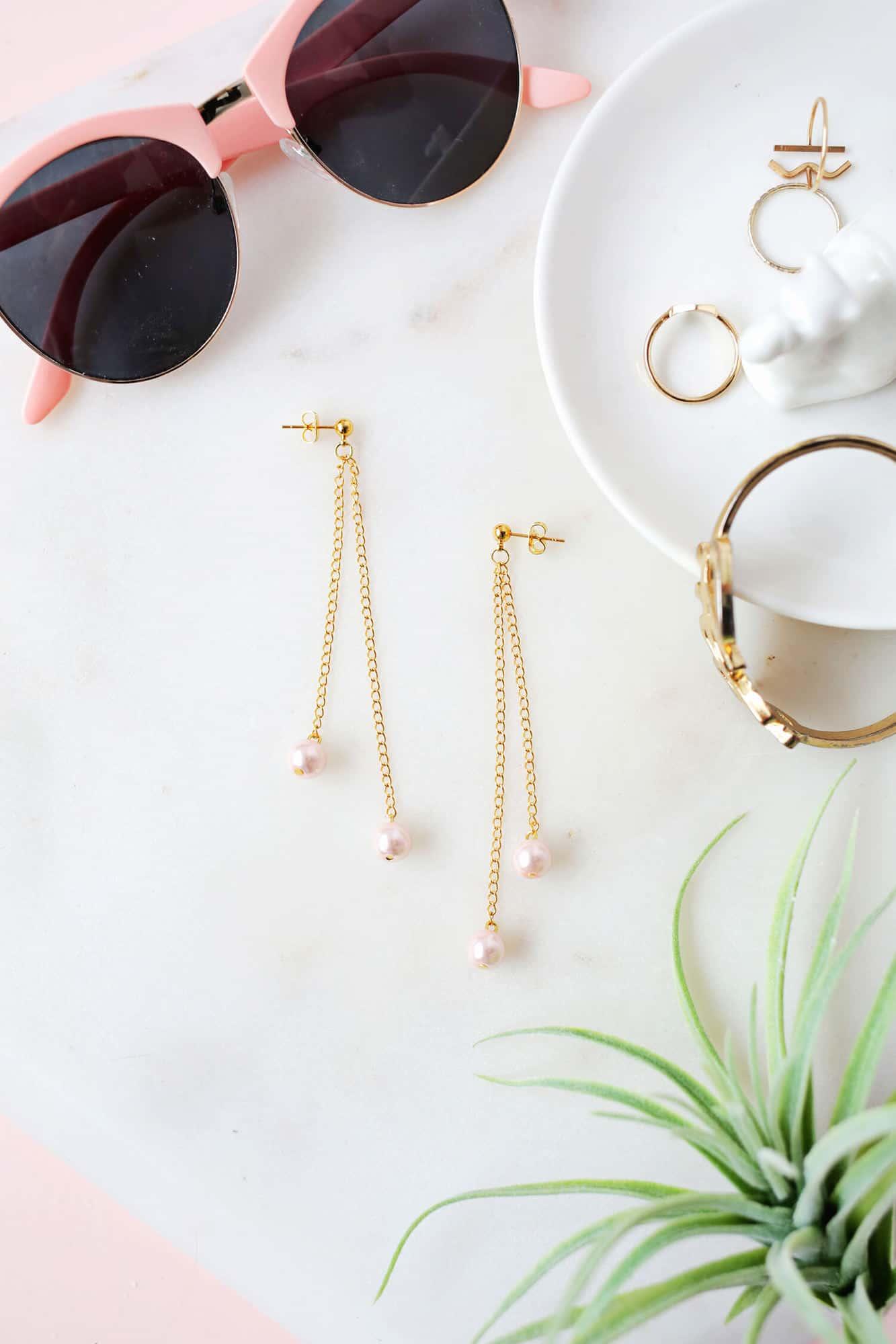 Pearl dangle earring DIY.dms