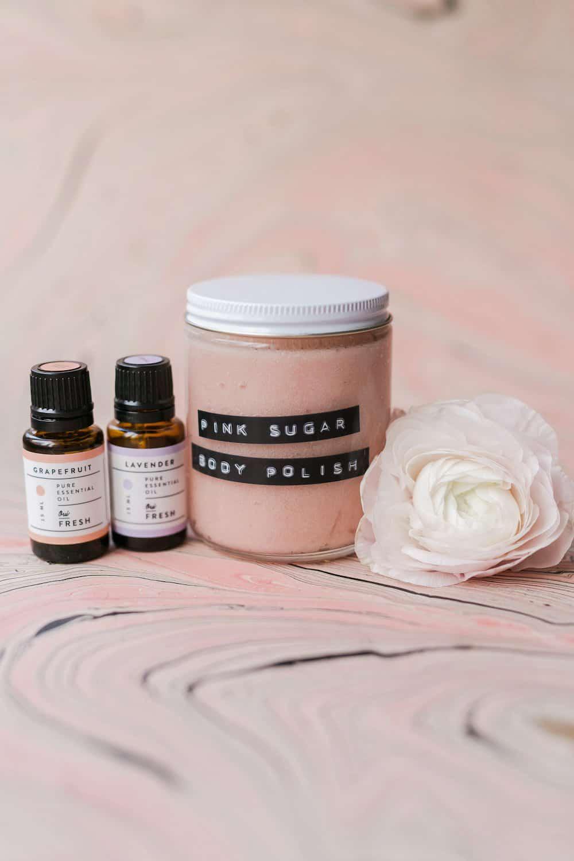 Pink sugar body polish DIY