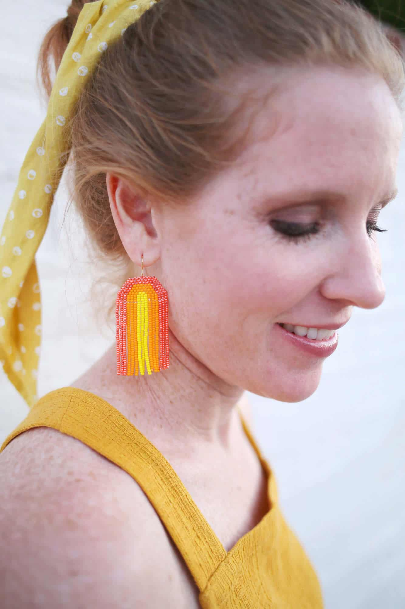Craft your own seed bead rainbow earrings with this simple tutorial on A Beautiful Mess blog