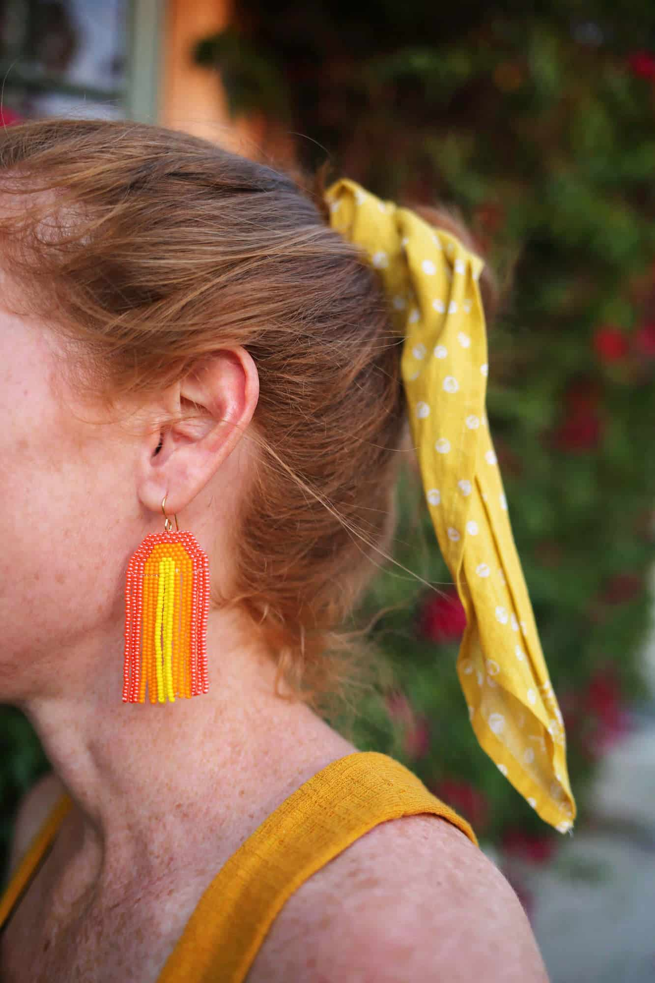 Find this rainbow seed bead earring tutorial on A Beautiful Mess blog