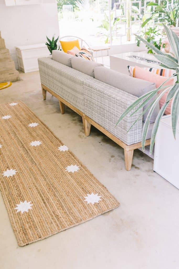 Easy Stenciled Outdoor Rug - A Beautiful Mess