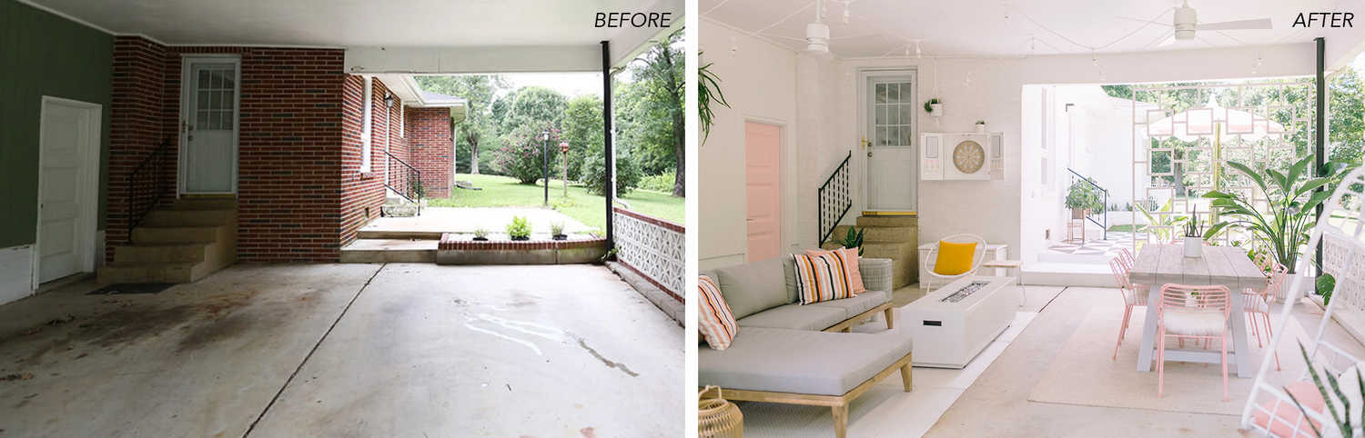 How I Turned My Carport Into An Outdoor Porch Before After A Beautiful Mess