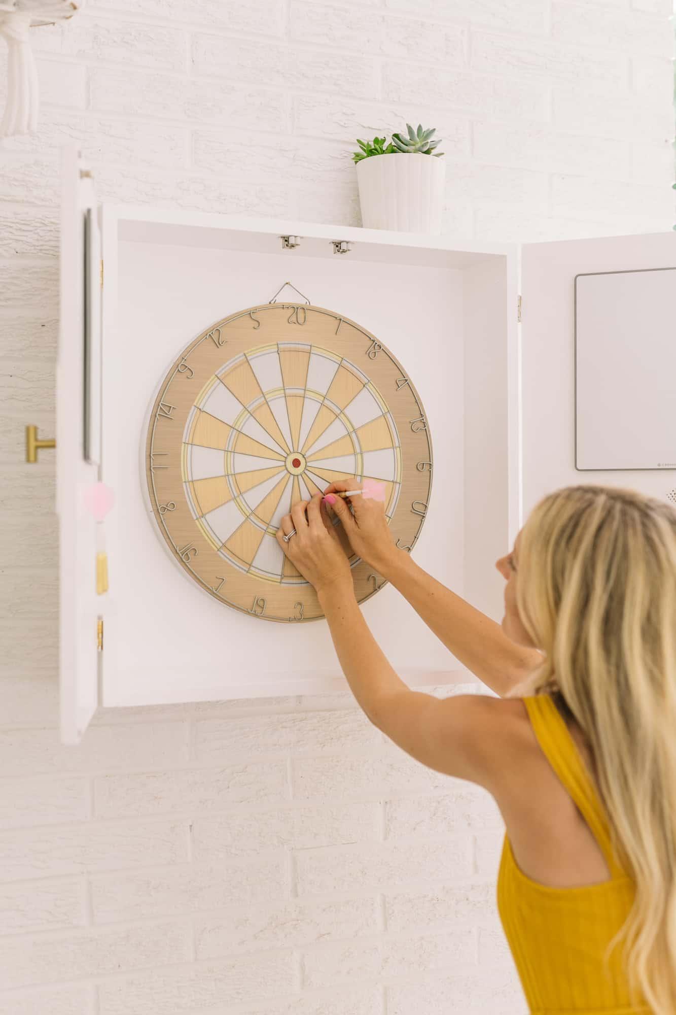 Modern Dartboard Cabinet Diy A Beautiful Mess