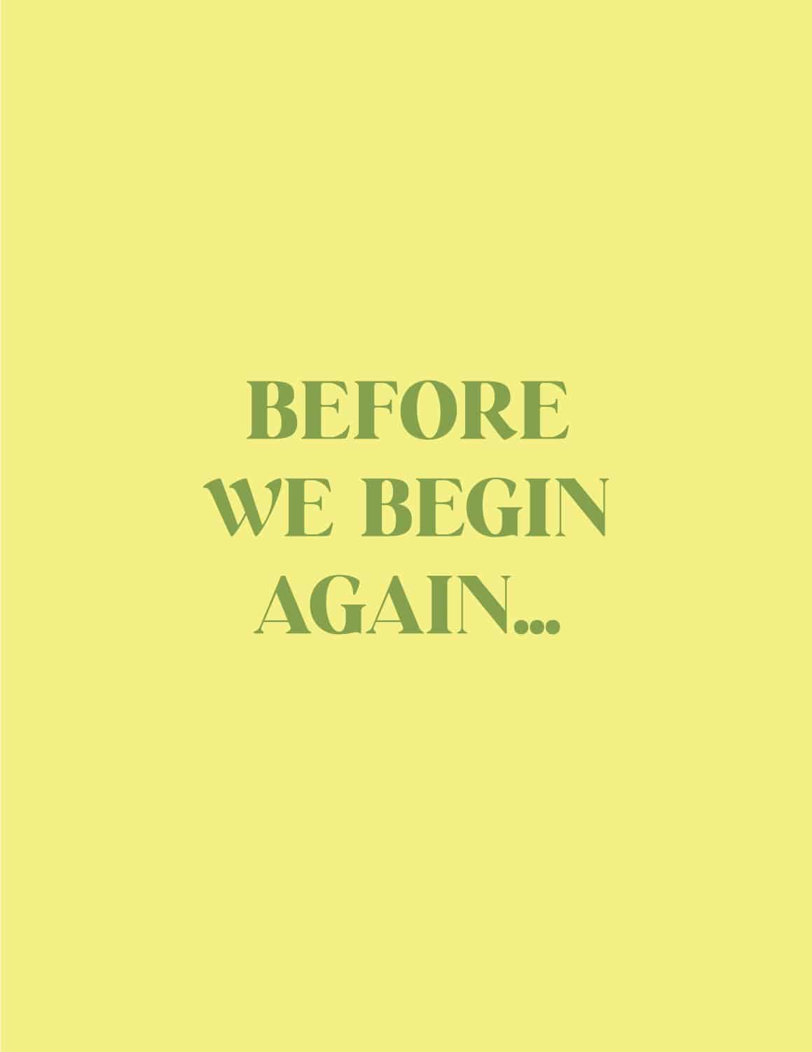 Before We Begin Again