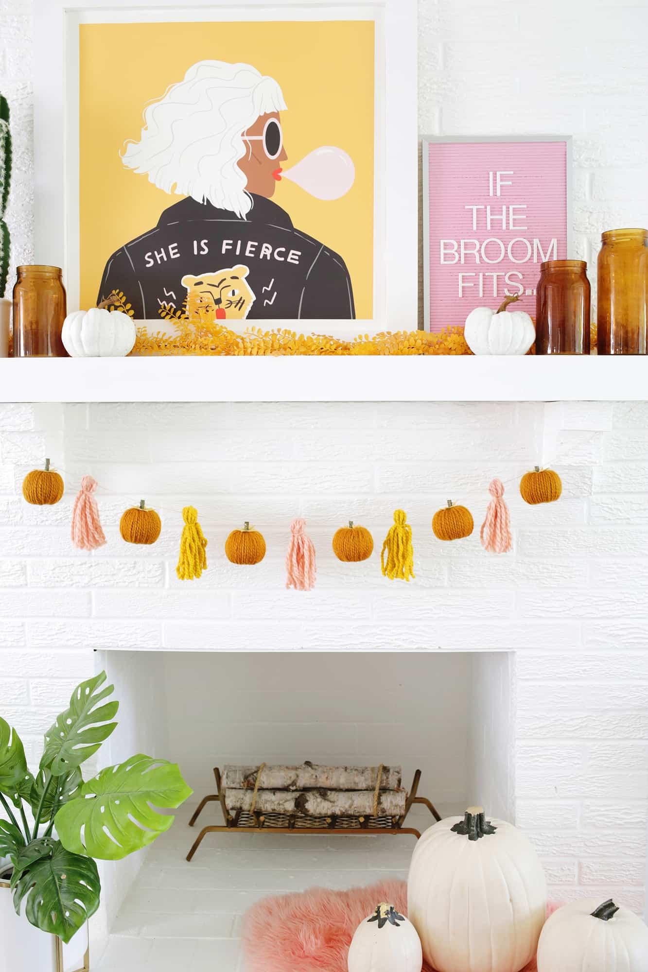 Yarn Pumpkin Garland Diy A Beautiful Mess