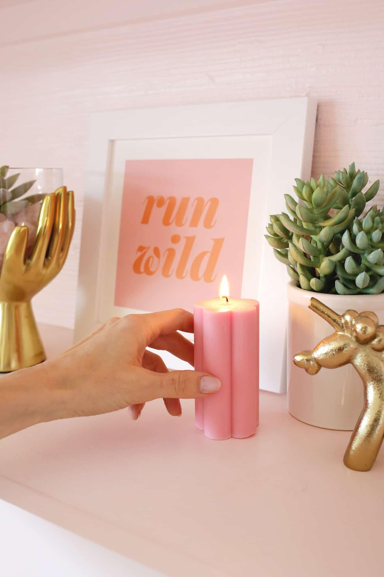 Flower Pillar Candle DIY click through for steps 1 8