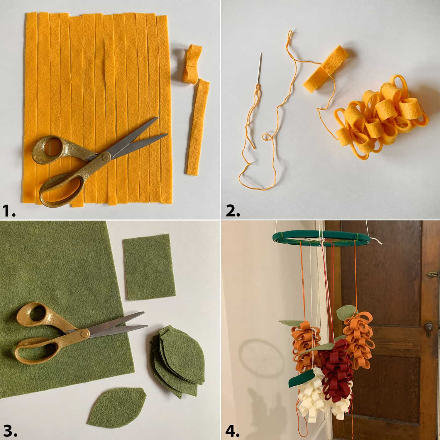 how to make a floral felt mobile