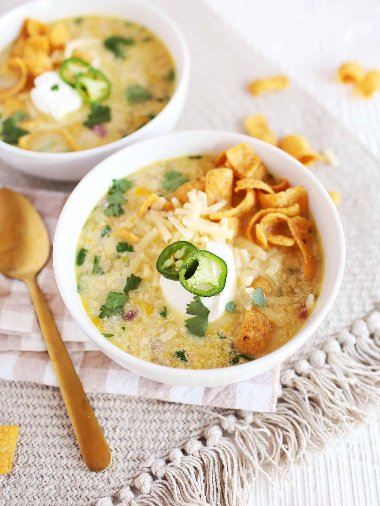 30 minute white veggie chili